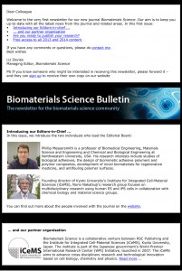 Biomaterials Science Newsletter