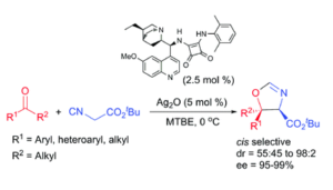 Synthesis of oxazolines from ketones and isocyanaoacetate esters via a formal [3+2] cycloaddition reaction catalysed by a multicatalytic system of silver and a dihydroquinine squaramide organocatalyst