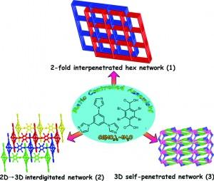 Reactant ratio-modulated entangled Cd(II) coordination polymers based on rigid tripodal imidazole ligand and tetrabromoterephthalic acid: interpenetration, interdigitation and self-penetration