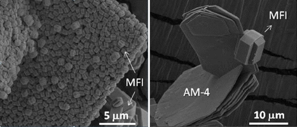 MFI zeolites on layered titanosilicates