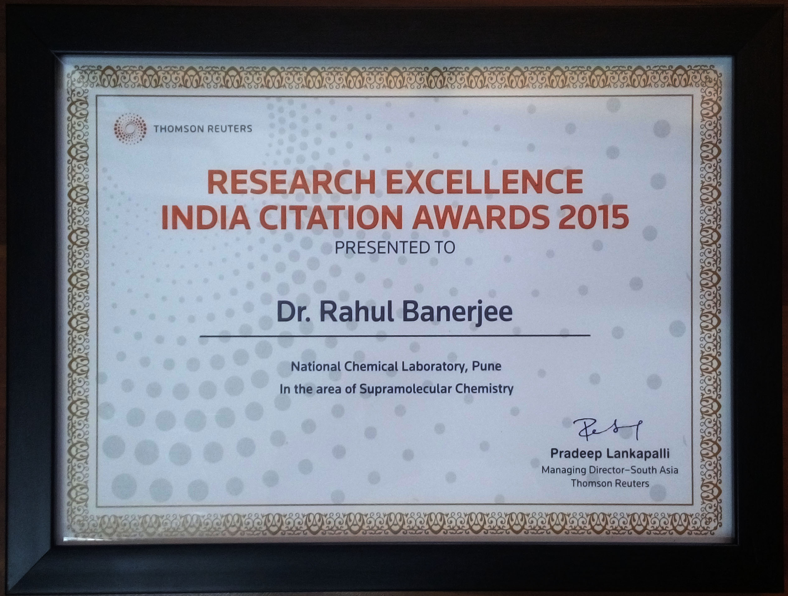 Professor Banerjee's Award