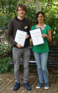 Luke Crawford and Martina Stella with their PCCP poster prize certificates