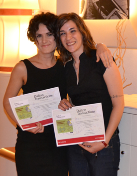 Blerina Gjoka (left) and Daniela Intrieri (right) after winning their Dalton Transactions Poster Prizes at the X Co.G.I.C.O