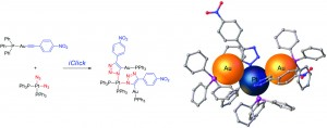 Inorganic click (iClick) synthesis of heterotrinuclear PtII/AuI2 complexes