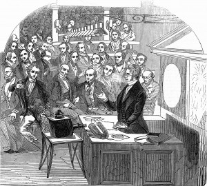 Image of Michael Faraday giving a lecture