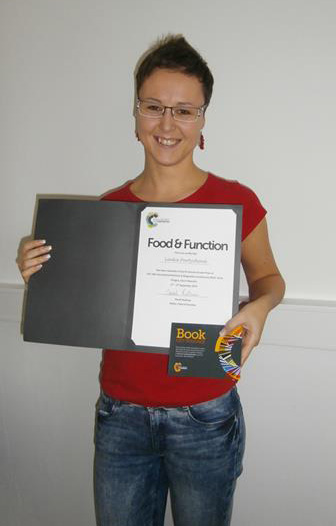 Lenka Portychová wins Food & Function poster prize for her work entitled Plasma free metanephrines as diagnostic markers of pheochromocytoma
