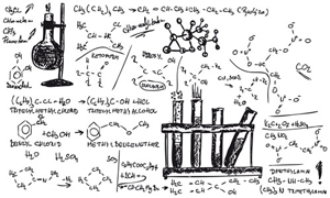 Picture showing several chemical reaction schemes and molecules