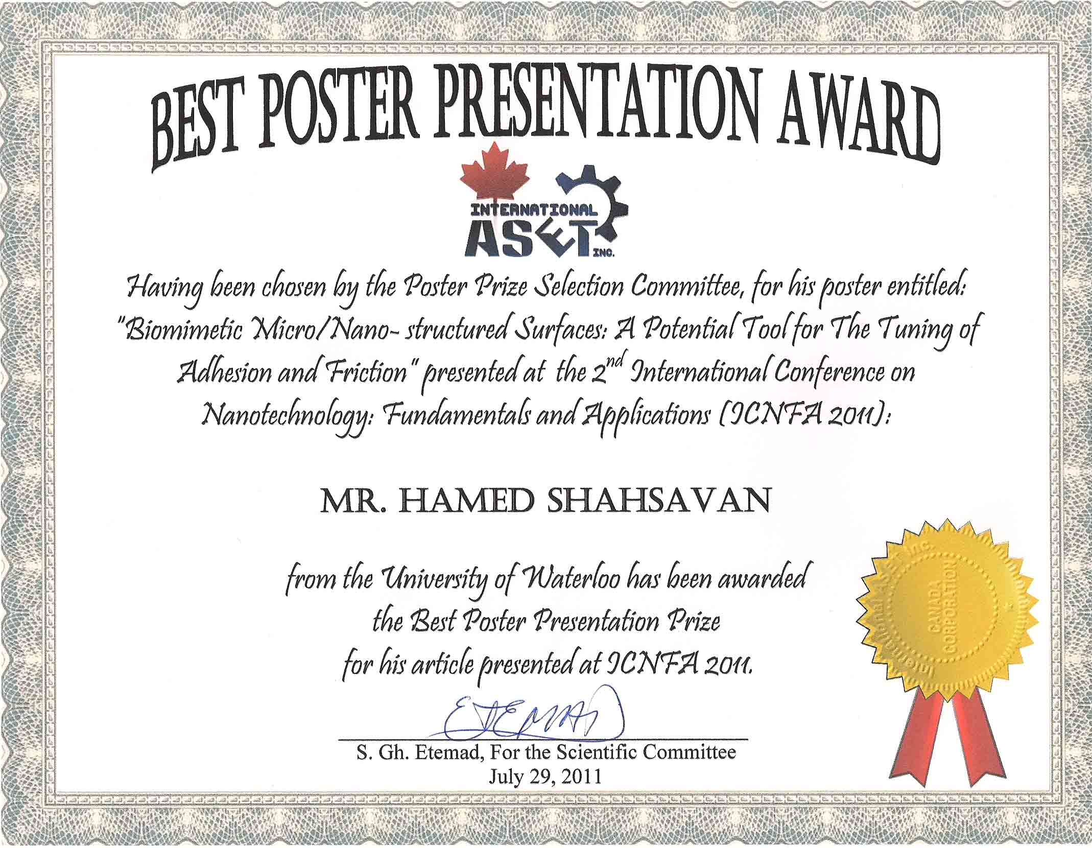 congratulations to hamed shahsavan for winning a journal of materials chemistry poster prize