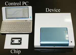 The detection system comprises: a laptop to control the system; a device for heating samples and detecting fluorescence; and disposable testing chips