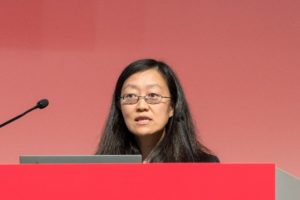 Hang Lu (winner) delivering her lecture