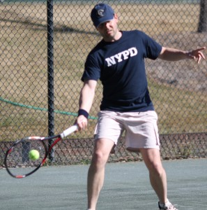 Prof. Peter Schreiner playing tennis