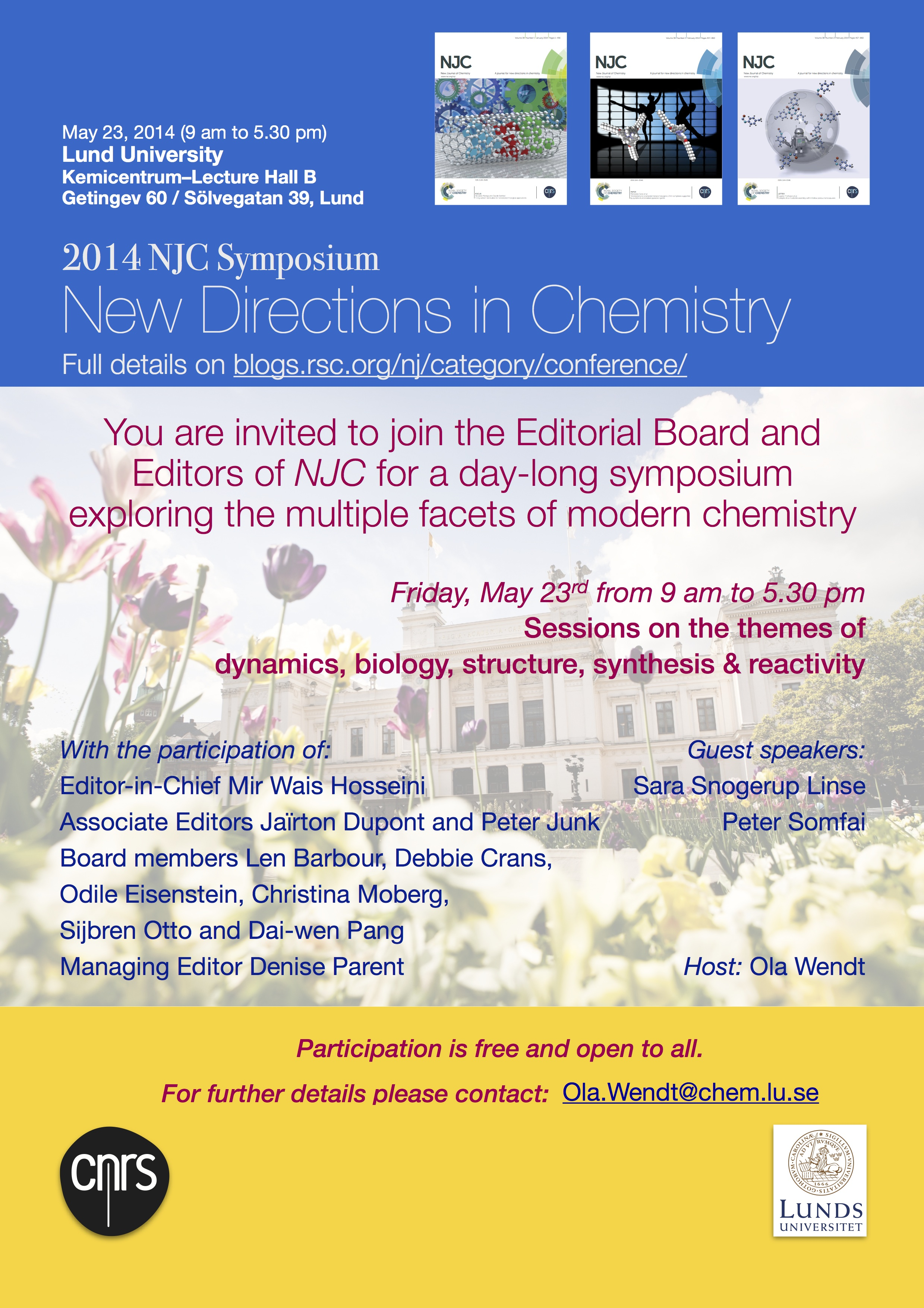 NJC Symposium at Lund University on May 23, 2014