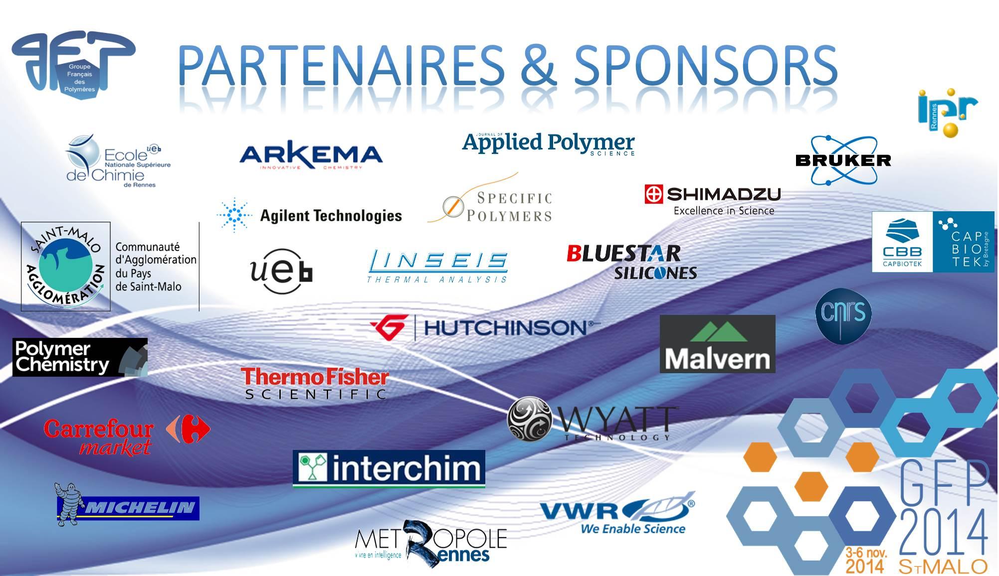 Groupe Fraincais des Polymeres 2014 - Saint Malo congress partners and sponsers