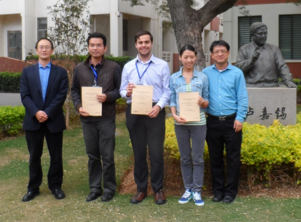 Picture (Left to Right) Daping Zhang the Executive Editor of Inorganic Chemistry Frontiers, Shuo-Hui Cao (Xiamen University), William Brittain (University of Birmingham), Yuan Yuan (Xiamen University), Yun-Bao Jiang (Dean of the College of Chemistry & Chemical Engineering at Xiamen University)