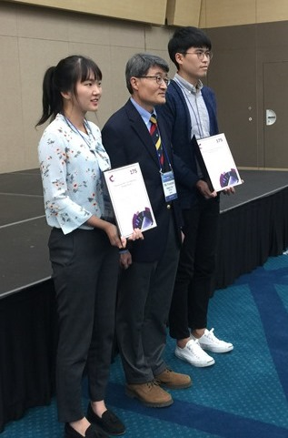 From Left to Right: Ms. Sanghee YANG, Prof. Kilwon Cho (Chair of Organizing Committee) and Mr. Minjun OH.