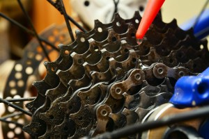 Lubricating bicycle gears