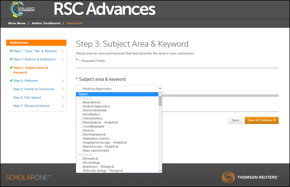 Subject Area and Keyword selection
