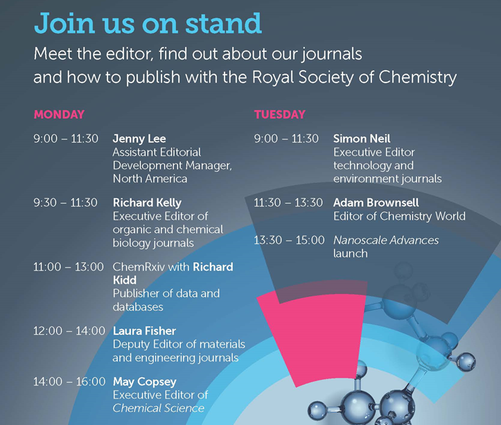 booth, stand, meet the editor, Royal Society of Chemistry, Richard Kelly, Richard Kidd, Laura Fisher, May Copsey, Chemical Science, Simon Neil, Adam Brownsell