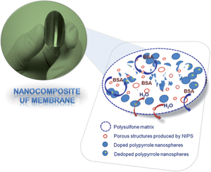 Highly dispersible polypyrrole nanospheres for advanced nanocomposite ultrafiltration membranes