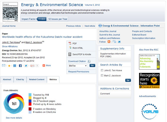 Altmetrics for an EES article