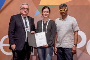 Fatemeh Rezaei receiving her certificate