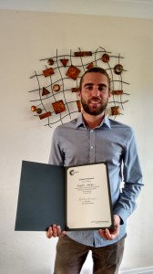 Eugenio Indrigo with his Chemical Science poster prize certificate