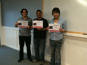 The three poster prize winners at Soft Matter Far From Equilibrium