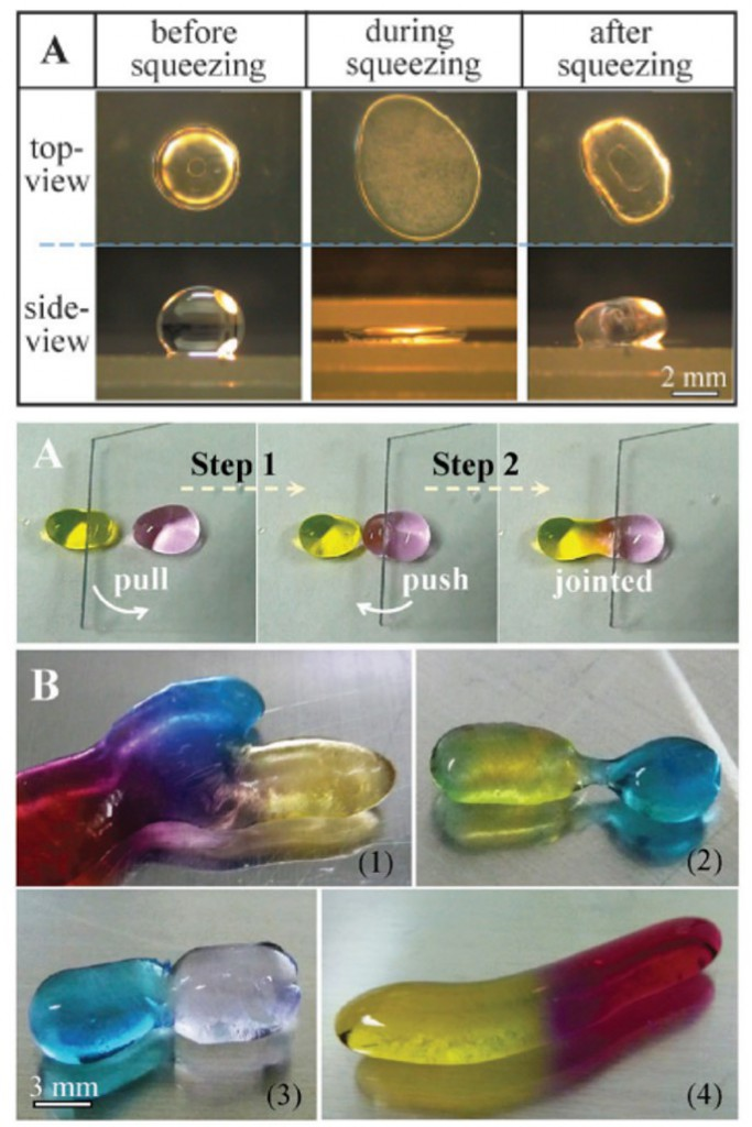 Water drops and liquid plasticine deformed with nanoparticles
