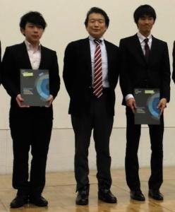 Prof Furukawa with Soft Matter award winners Takumi Watanabe and Takeshi Fujiyabu