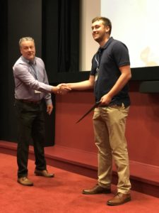 Ben Guy receiving his award
